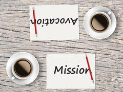 Business Concept : Comparison between mission and avocation Stock Photos