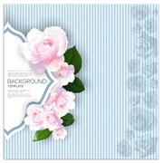 Marriage invitation card with place for text and pink flowers over linear blue - stock illustration