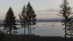 Vancouver Harbor Freighters Trees After Sunset - 4k Stock Footage