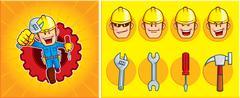 Repairman Mascot - stock illustration