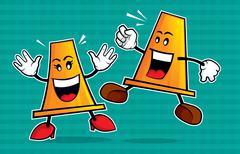 Safety cone mascot - stock illustration
