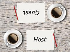 Business Concept : Comparison between guest and host Stock Photos