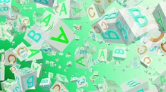 Flying alphabet cubes in white on green Stock Footage