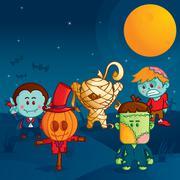Halloween monster parade Stock Illustration