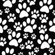 Black and White Dog Paw Prints Tile Pattern Repeat Background - stock illustration