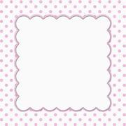 Pink and White Polka Dot Frame Background - stock illustration