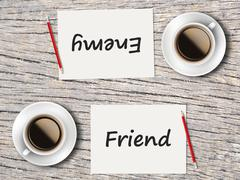 Stock Photo of Business Concept : Comparison between friend and enemy
