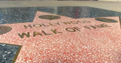 Stock Video Footage of Hollywood Boulevard walk of fame star