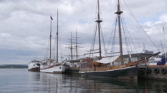 Old ships Oslo harbor Stock Footage