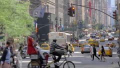 Busy street traffic in New York City Stock Footage