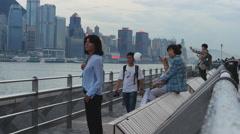 Hong Kong harbour outlook platform tourists 4K Stock Footage