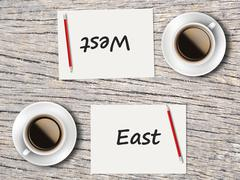 Business Concept : Comparison between east and west Stock Photos