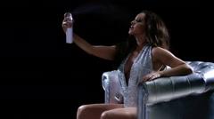 Glamorous Woman Performance Silver Club Chair 53 Custom Stock Footage