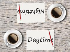 Business Concept : Comparison between daytime and nighttime - stock photo