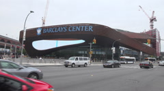 Barclays Center_Daytime EXT  Wide Shot Stock Footage