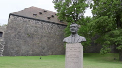 Johan J Holst monument at Akershus Fortress Oslo Norway Stock Footage