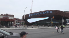 Barclays Center_Pan Right Day time EXT Wide Shot Stock Footage