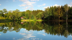 Symmetry reflection on a summer lake - stock footage