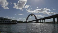 """Pictorial bridge"" in Moscow on Moscow-river. Stock Footage"