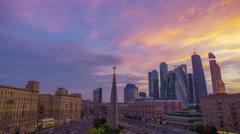 Area Dorogomilovskaya Zastava  Moscow, Kutuzov Avenue Stock Footage