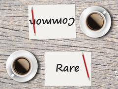 Stock Photo of Business Concept : Comparison between common and rare