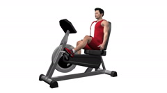 Male working out stationary recumbent exercise bike. Loopable with Alpha Channel Stock Footage
