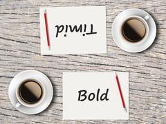 Business Concept : Comparison between bold and timid - stock photo