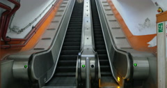 Empty underground escalator moving up - stock footage