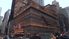 Carnegie Hall Time lapse EXT Day to Night Wide Shot - stock footage