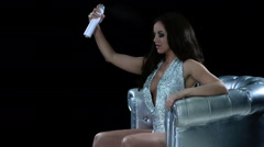 Glamorous Woman Performance Silver Club Chair 62 Stock Footage