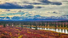 Alaska mountain range view from a distance - stock footage