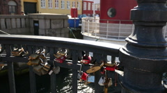 Love Locks, Copenhagen, Denmark Stock Footage