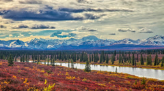 Alaska mountain range view from a distance Stock Footage