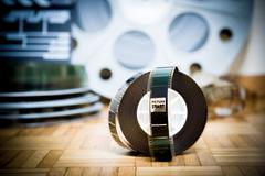 Cinema movie filmstrip with picture start frame and other movie objects Stock Photos