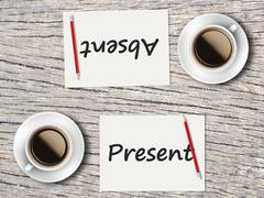 Business Concept : Comparison between present and absent - stock photo