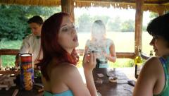 Redhead sexy girl flirting smoke releasing white smoke seduce to a bad habit Stock Footage