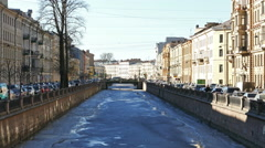 Thin Ice on Moyka River in St.Petersburg, Russia Stock Footage
