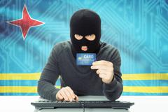 Cybercrime concept with flag on background - Aruba - stock photo