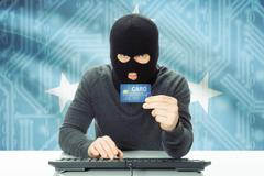 Cybercrime concept with flag on background - Micronesia Stock Photos