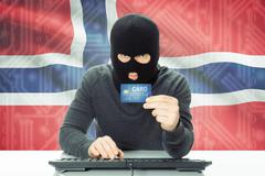 Cybercrime concept with flag on background - Norway - stock photo