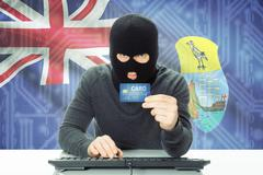 Cybercrime concept with flag on background - Saint Helena - stock photo
