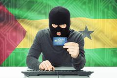 Cybercrime concept with flag on background - Sao Tome and Principe - stock photo