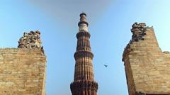 Qutab Minar minaret New Delhi Stock Footage