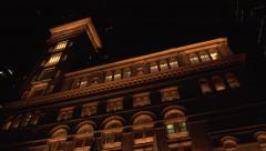 Carnegie Hall Half Pan Left Extreme Low Angle EXT Wide Shot Stock Footage