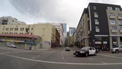 Three LAPD Rear View Downtown Driving Shot Stock Footage