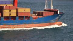 Cargo ship and containers Stock Footage