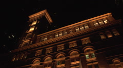 CarnegieHall Half Pan Right Extreme Low Angle EXT Wide Shot Stock Footage