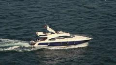 Luxury yacht cruising into Bosporus waters Stock Footage