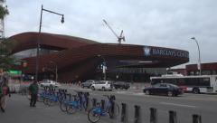Barclays Center Pan Right Daytime EXT Wide Shot Stock Footage