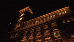 Carnegie Hall Full Pan Extreme Low Angle EXT Wide Shot Stock Footage